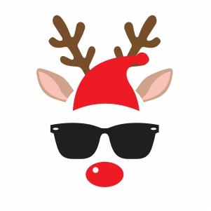 Deer With Santa Hat Vector