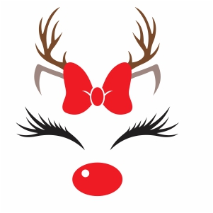 Christmas Bow Reindeer Svg