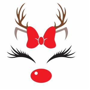 Christmas Bow Reindeer Vector