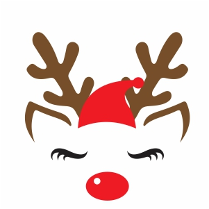 Reindeer With Santa Hat Svg