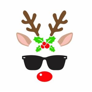 Christmas Reindeer Glasses Vector