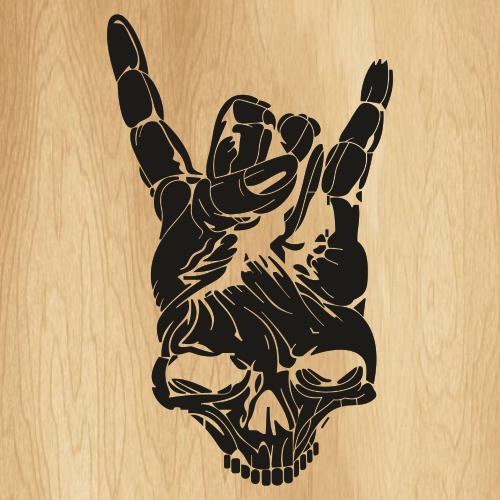 Rock Skull Hand Svg