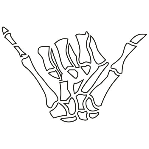 Skeleton Shaka Sign outline Svg