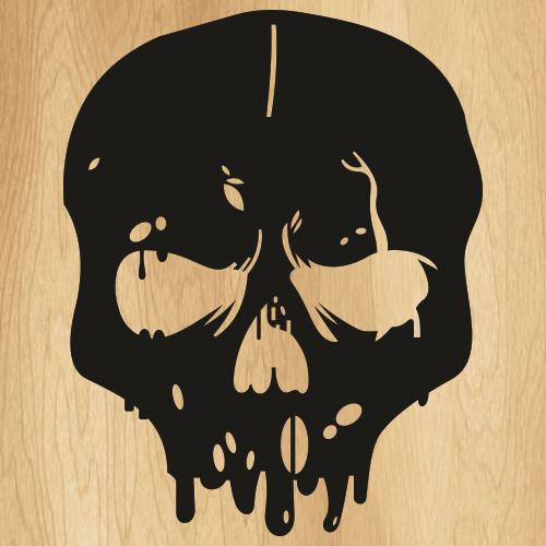 Skull Black Drip Svg