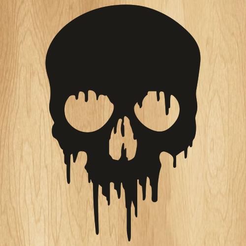 Skull Drip Black Svg