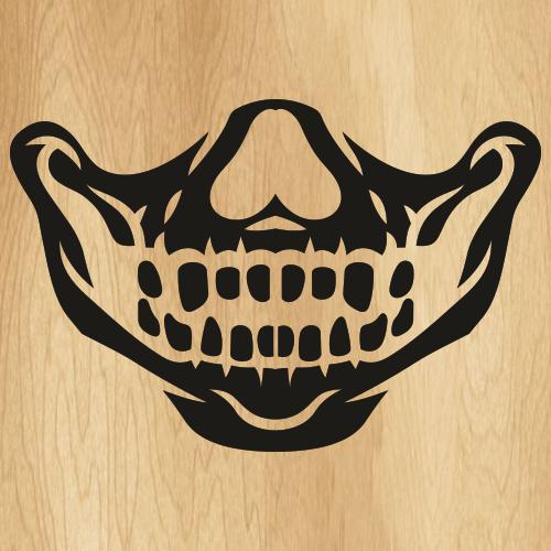 Teeth On The Skull Face Mask SVG