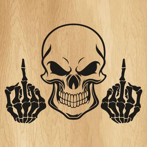 Skull Middle Finger Svg
