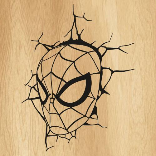 Spiderman Head Wall Crack Svg