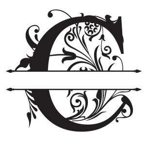 Split Monogram C Letter Svg