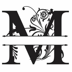 Split Monogram M Letter Svg