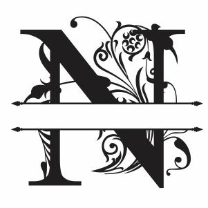 Split Monogram N Letter Svg