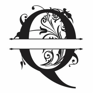 Split Monogram Q Letter Svg