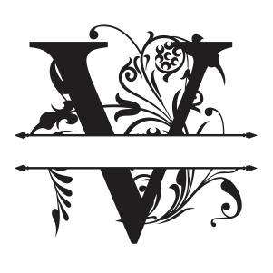 Split Monogram V Letter Svg