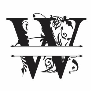 Split Monogram W Letter Svg