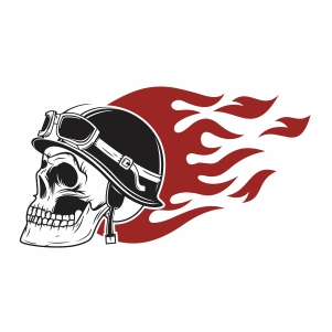 Skull in Helmet With Fire Svg