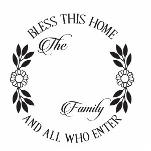 Bless This Home Monogram Vector