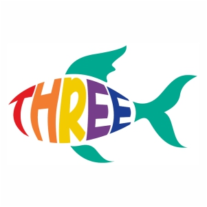 Stylish number three in fish shape svg