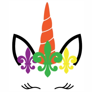 Unicorn Mardi Gras face svg