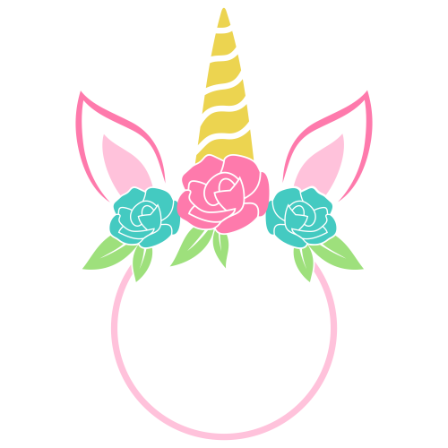 Unicorn Head Monogram Svg