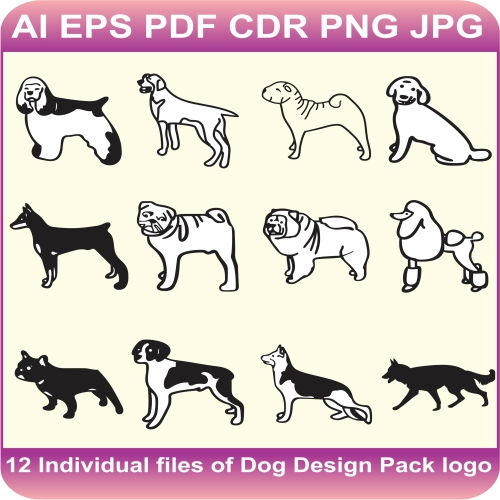 dogs pack design vector