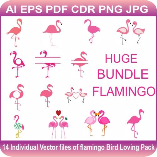 Flamingos bird loving vector design pack