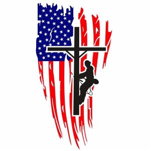 Lineman Distressed USA Flag Svg