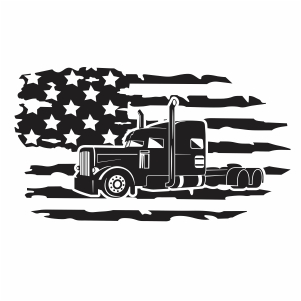 Truck America Flag Svg For Silhouette