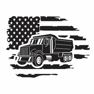 Truck USA Flag Vector