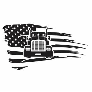 Trucker Distressed Flag Svg