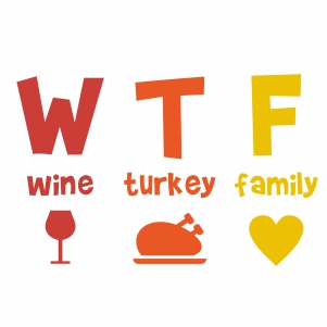 Wine Turkey Family Svg