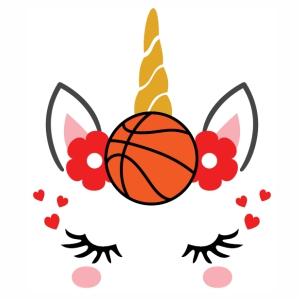Unicorn Eyelashes With Basketball svg