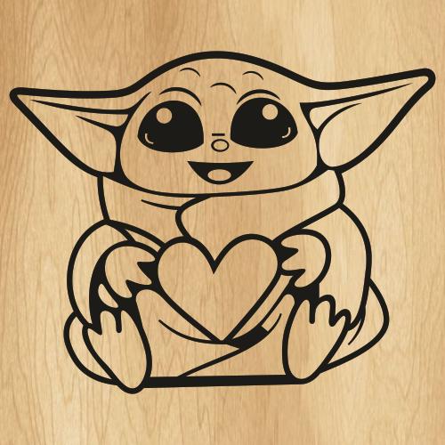 Yoda Heart Svg