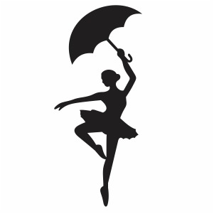 Ballerina With Umbrella Svg