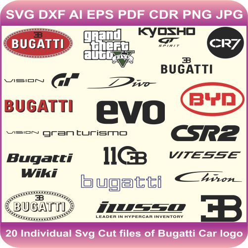 Bugatti Car Pack Logos Svg Cut Files