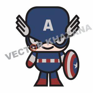 Captain America Chibi Superhero Vector