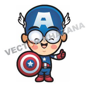 Chibi Captain America Vector