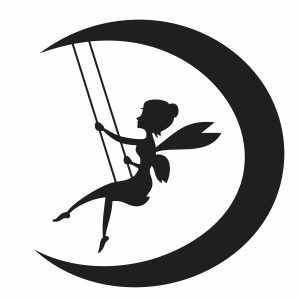 Tinker Bell Fairy Moon Silhouette svg cut