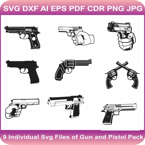 Gun And Pistol Svg Bundle