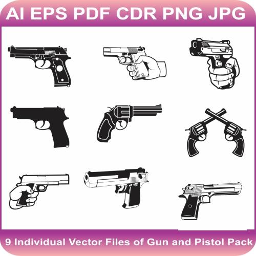 Gun And Pistol Vector bundle