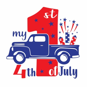 My First Truck 4th Of July Vector