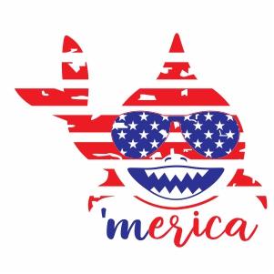 Merica Shark USA Distressed Flag Vector