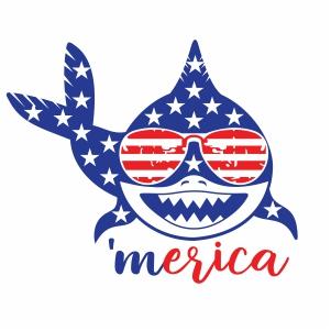 Merica Shark USA Flag Vector