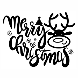Merry Christmas Deer Face svg cut