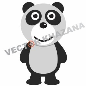 Simple Panda Cartoon Logo Vector