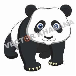 Cute Baby Panda Logo Vector