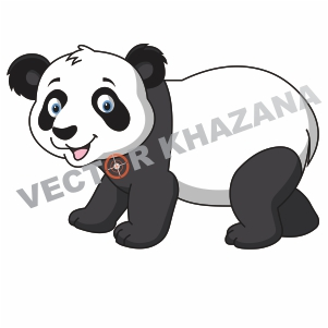 Cute Panda Cartoon Logo Vector