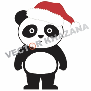 Cute Panda With Christmas Logo Vector