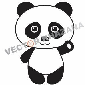 Panda Cartoon Logo Vector