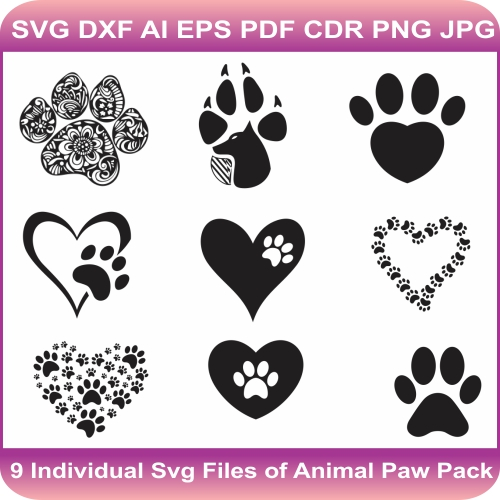 Animal paw svg bundle