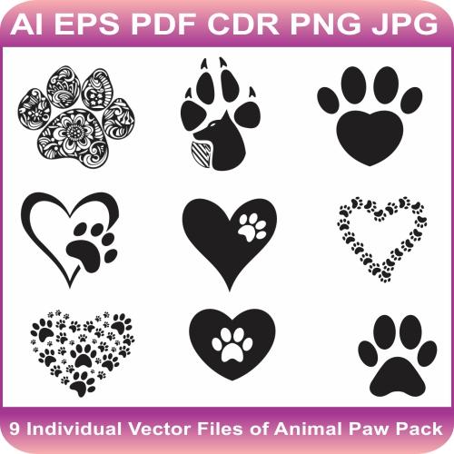 Animal Paw Vector Bundle